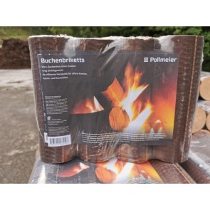 Holzbriketts (Strangbrikett), Buchenbriketts, Pollmeier, 10kg im Paket foliert